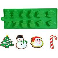 Quality Christmas Tree Silicone Cake Molds With Snowman Santa Of 21.5 * 10 CM wholesale