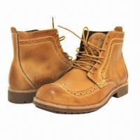 Quality Men's High Boots, British Pop Style, Leather Winter Shoes, Wearable Rubber Sole, Men's Leisure Shoes wholesale