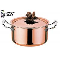 Quality Polished Round European Copper Pot 3-Ply Cookware For Restaurants wholesale