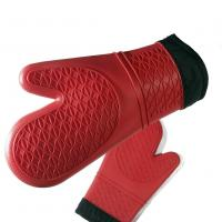 Quality Safety Cotton Silicone Grilling Gloves , Heat Resistant Gloves For Cooking wholesale