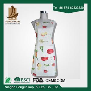 Quality Womens / Mens Home Cooking Cotton Bib Aprons Vegetable Printed 70x80cm wholesale