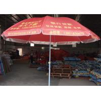 Quality Steel Frame Red Outdoor Beach Umbrella Foldable With White Ink Printing wholesale