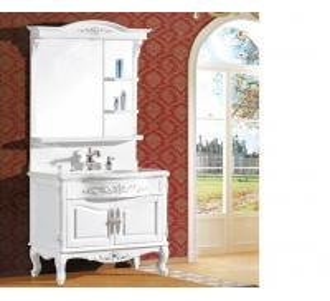 Quality Waterproof bathroom furniture single vanity sink cabinet mirror / basin included wholesale