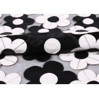 Quality Customization Embroidery PU Mesh Lace Fabric With Black And White Flower wholesale