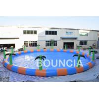 Quality Commercial 15m Diameter Round Inflatable Water Swimming Pools With Palm Tree wholesale