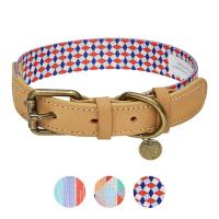 China Polyester Webbing Genuine Leather Dog Collars Matched Leashes Available on sale