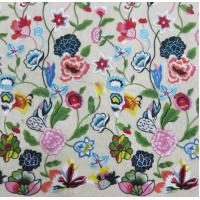China Multi - Color Floral Embroidered Lace Fabric , Crochet Fashion Textiles on sale