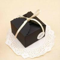 China LSX Black Paper Boxes Birthday Wedding Favour Bomboniere Cake Candle Gift Boxes on sale