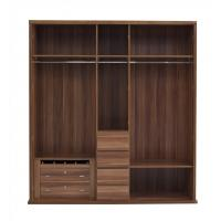 Cheap Luxury Aparment Bedroom Furniture by big pull out doors in wall Wardrobe in MDF melamine with walnut solid edged for sale