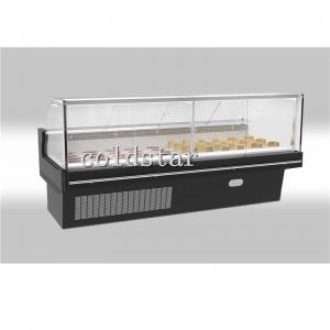 China Supermarket deli refrigerator fresh meat display counter curved glass deli dispaly case on sale