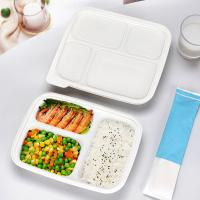 Quality Three compartments starch warp up tray white color eco friendly fast food container with lid wholesale