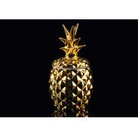 Quality Golden Glazing Pineapple Ceramic Candle Holder With Lid , 100% non toxic wholesale