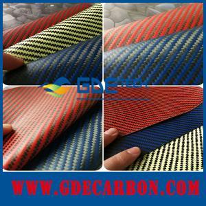 Quality GDE 3k carbon fiber leather , color carbon kevlar fabric leather wholesale