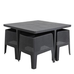 Quality Plywood W160cm D90cm Table Grey Rattan Dining Set , 5 Piece Cube Patio Set wholesale