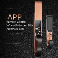 Quality APP Remote Controlled Fingerprint  Door Lock , Infrared Induction Slide Cover Lock wholesale