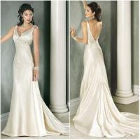 China Modern Low Back Simple Elegant Charming Champagne Satin Wedding Dress (WD-024) on sale