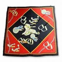 China Hot Sale Lady Silk Scarf with Screen Printed, OEM and ODM are Order are Welcome on sale