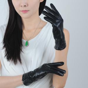 Quality lady/women sheepskin black leather gloves wholesale