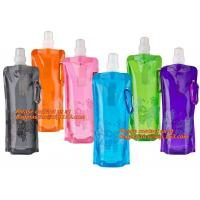 Quality Spouted flexible foldable water bag with carabiner for running, flexible printing and lami wholesale