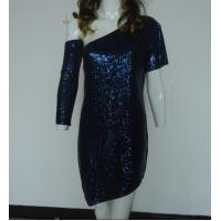Quality Navy Bling Bling Sequin Club Dresses , Classy Club Evening Dresses Lightweight wholesale