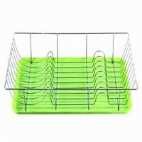 China Dish Rack for Tableware/Kitchen Plate with Chrome Plating, Silver Surface Finish on sale
