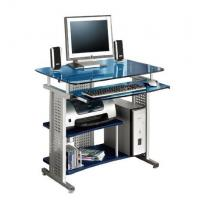 Fashion Blue Tempered Glass And Wooden Computer Desk Modern , Silver