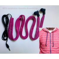 Quality NEW washable headphone for hoodie garment drawstrings waterproof MP3 earphone wholesale