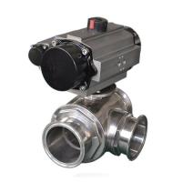 China Sanitary three way ball valve SS304,SS316L,Pneumatic Operated,tri clamped connection on sale