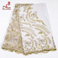 Quality Heavy Tulle Beaded Embroidered Lace Fabric For Bridal Dress Azo Free Dyeing wholesale
