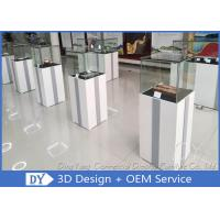 Quality MDF Square Custom Glass Display Cases  With Light / Museum Display Pedestals wholesale