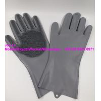 China Custom Wholesale Reusable Eco-friendly Stock Blue Dish Scrubbing Cleaning Dishwashing Silicone Silicon Gloves for Kitche on sale