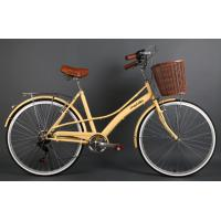 Quality Hi-ten steel 26 inch OL elegant retro city bike for lady  with Shimano 7 speed with basket wholesale