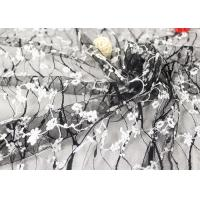 Stretch Polyester Guipure Lace Fabric , Black And White 3D Floral Mesh Fabric