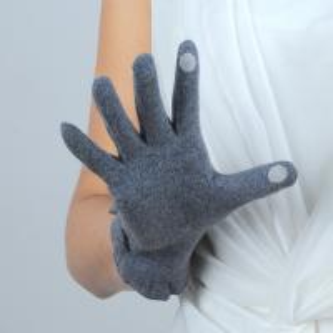 Quality ladies / women's autumn winter gray color woolen gloves wholesale