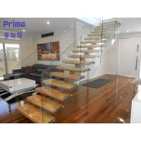 Quality interior wooden staircase design with frameless glass railing wholesale