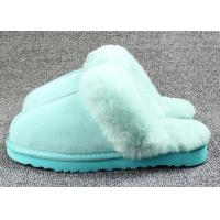Quality Anti Slip Ladies Sheepskin Mule Slippers , Ladies Wool Lined Slippers With Soft Leather Sole wholesale