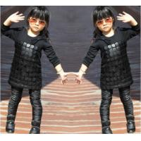 Quality Knit Black Winter Party Dresses For Girls , 7 To 8 Years Girl Dress Pu Leather Front wholesale