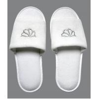 China Disposable Hotel Amenities EVA and Dot shoe sole custom Logo Hotel Slipper on sale