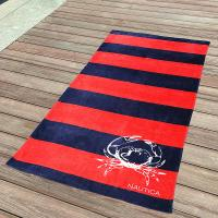 Quality Awesome Kids Swimming Towels Red and Navy Striped Seashell Beach Towels wholesale