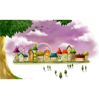 Quality Water Resistant Bamboo Fiber Wall Art Panels Cartoon Rainbow Castle wholesale