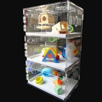 Quality acryl hamster cage,New style clear square household 3 steps acrylic hamster cage for sale with available price wholesale
