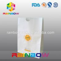 Quality Take Away Fast Food Paper Bag Packaging , Bread Flat Bottom Pouches Grease Proof wholesale
