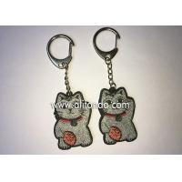 China Promotional glittering fortune cat shape keychains custom for top high grade bags packbag decoration on sale
