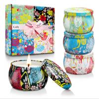 Quality Custom Retro Patterns Travel Metal Jar Scented Candle Tin Candle Gift Sets wholesale