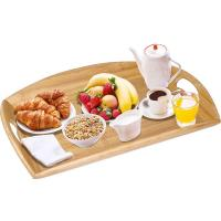 Quality extra large bamboo wood bed serving tray with oval handle wholesale