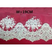 Quality 10 Wide Scalloped Embroidered Lace Fabric Bridal For Wedding Dresses wholesale