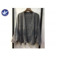 Quality Lightweight Lady Pointell Bat Sleeves Cardigan / Womens Knit Sweater Gray Color wholesale