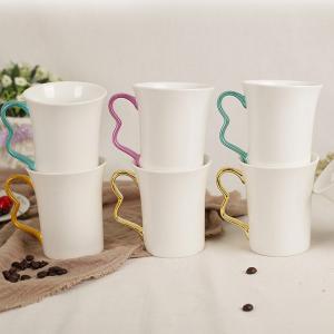China V Shape Custom Printed Ceramic Mugs , Large Ceramic Coffee Mugs 9*10.3*6cm on sale