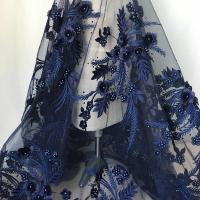 Quality Navy Blue 3D Flower Lace Fabric with Pearl Beaded Applique for Ladies Dress wholesale