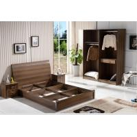 Quality Cheap IKEA style rent Apartment home furniture melamine plate bed 1.2m- 1.5m-1.8 m light walnut color wholesale